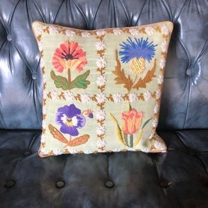 Vintage Embroidered Accent Pillow